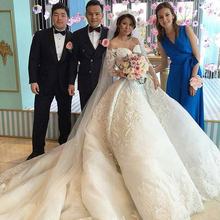 Gorgeous Embroidery Ball Gown Wedding Dress 2016 Vintage Cathedral Train Vestido De Noiva High Quality Wedding Gowns