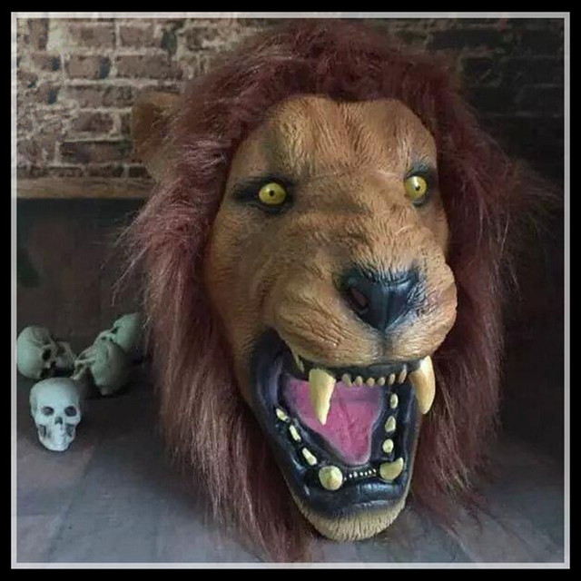 Free shipping Creepy Halloween Animal Scary Lion Mask Eco friendly ...