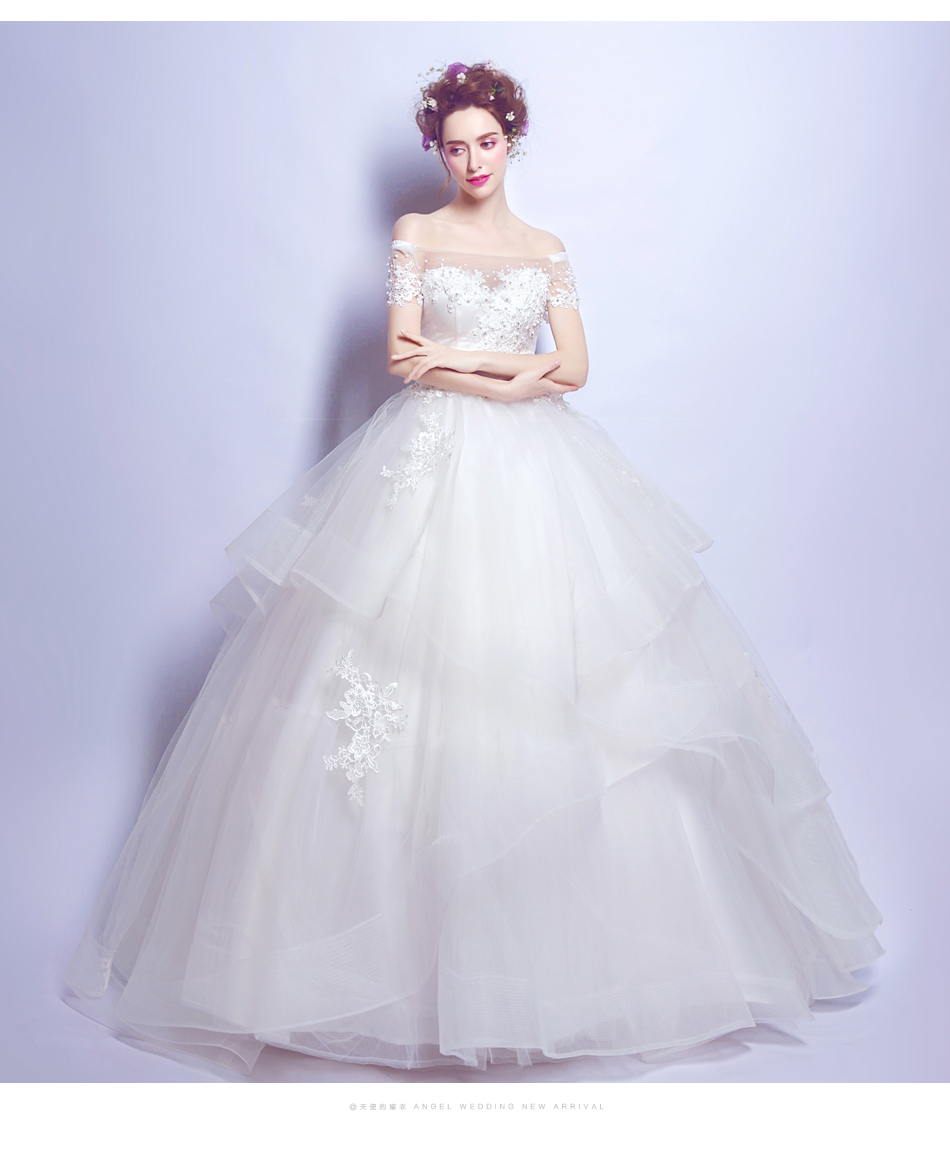 Angel Wedding Dress Marriage Bride Bridal Gown Vestido De Noiva 2017 Boat Neck Nail, lace, 2129 12