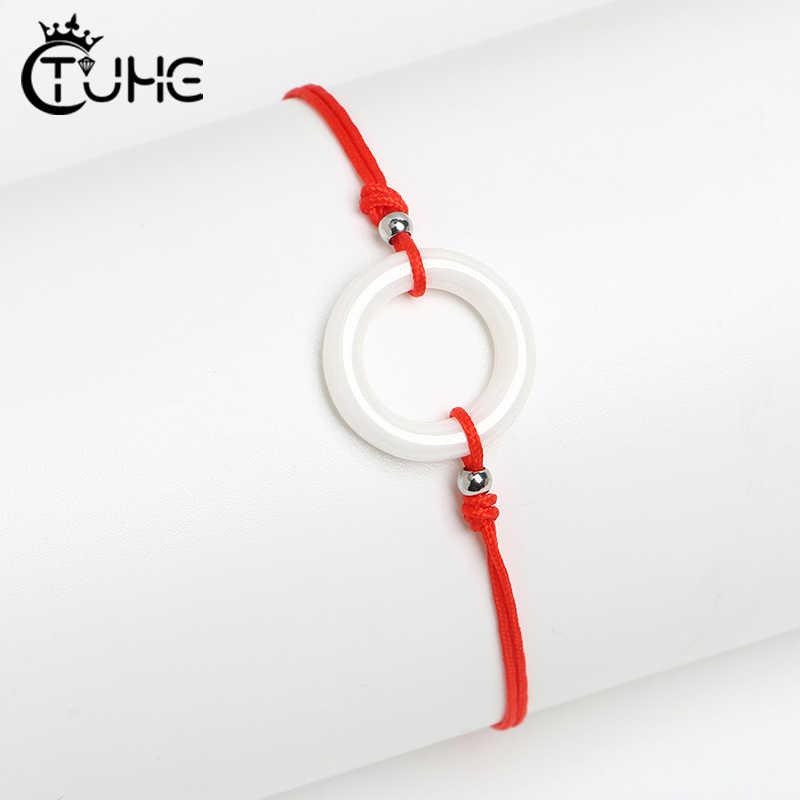 Handgemachte Ceramicl Liebe Kreis Form Charme Armband Dünne Rote Seil Gewinde String Armbänder Für Männer Frauen Paare