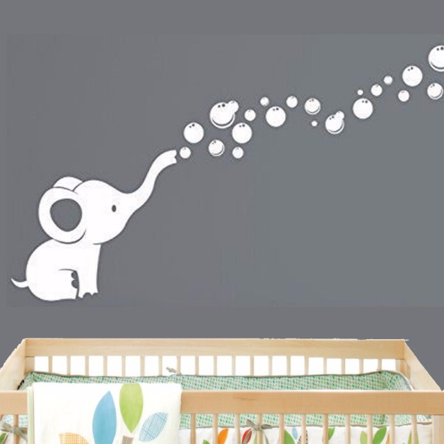 Buy elephant bubbles baby wall decal - Stickers elephant chambre bebe ...