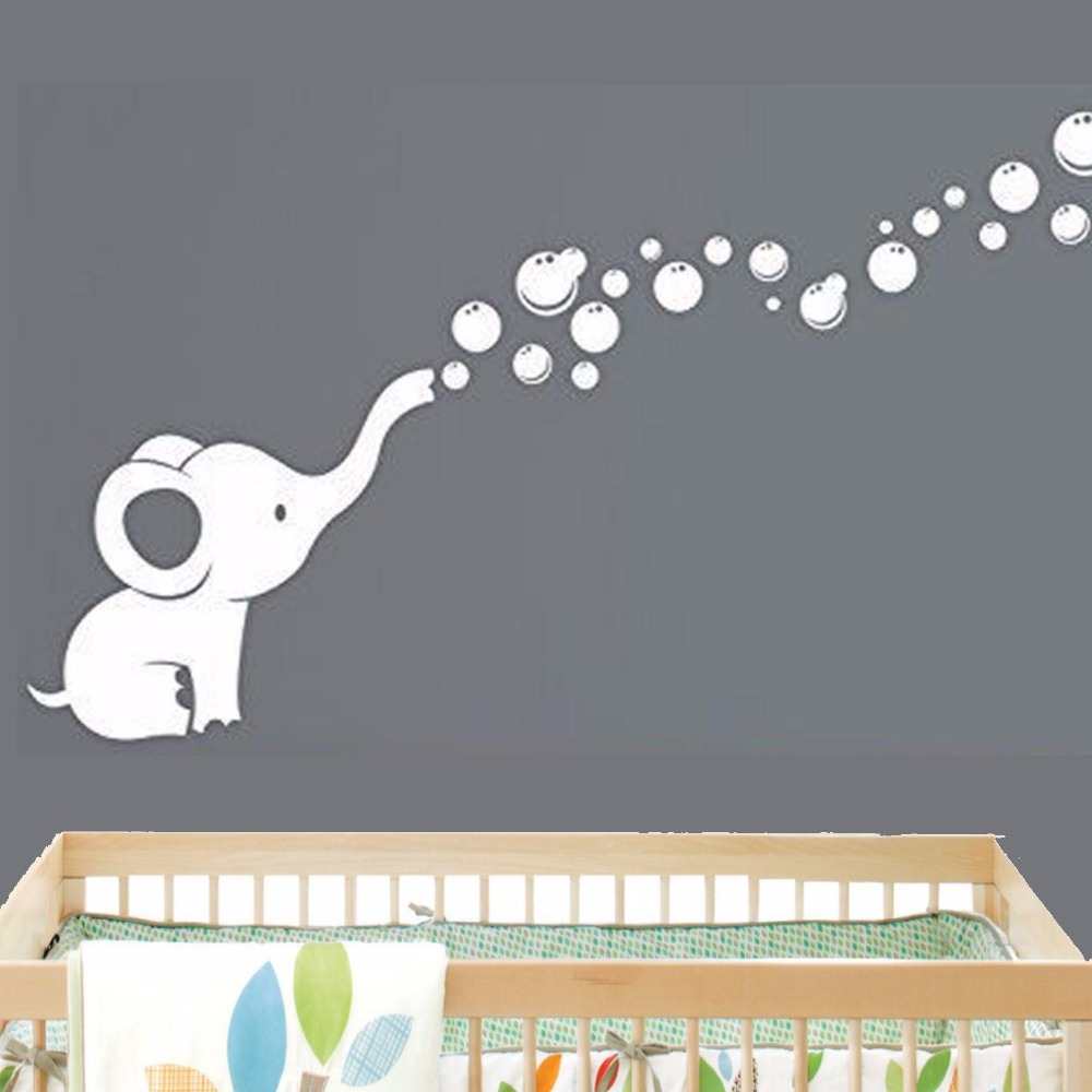 elephant bubbles baby wall decal vinyl wall nursery room decor size 69x127cm in wall stickers. Black Bedroom Furniture Sets. Home Design Ideas