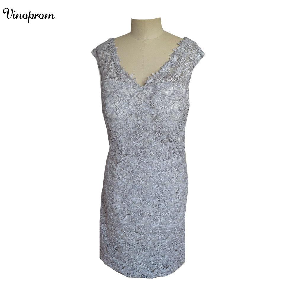 Short   Cocktail     Dresses   2018 Latest Design V Neck Formal Gowns Cap Sleeve Lace Mini Length Top