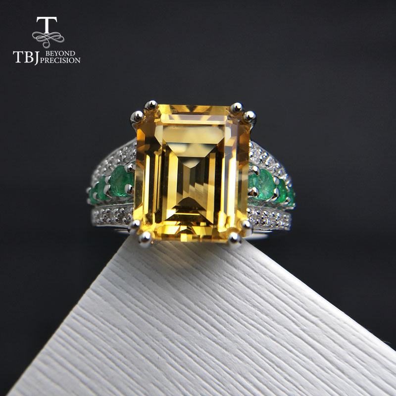 TBJ High quality Gemstone solid Ring with Brazil Citrine and Emerald in 925 sterling silver women