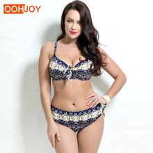 2018 Plus Size Floral Bikini Women Swimsuit Vintage Print Bathing Suit 48-56 Bow Knot Swimwear High Waist Beachwear Bikini Set