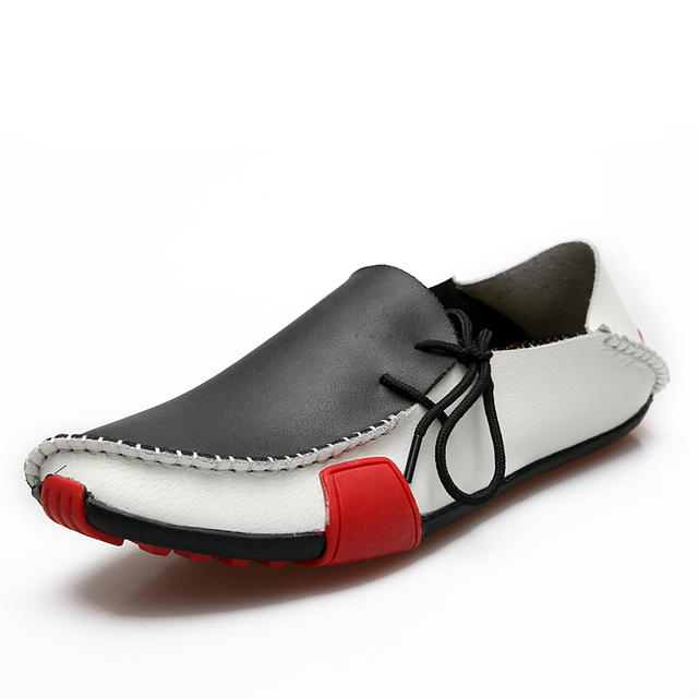Korean fashion trendy men breathable PU leather boat lace up sewing doug shoes a pedal men leather loafers flats shoes