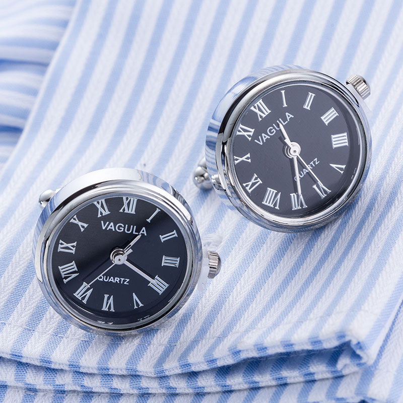 New Arrival Real Watch Cufflinks VAGULA Clock Cuff links With Battery tourbill Machine Core Mechanical Gemelos