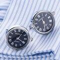 Nova chegada relógio relógio real abotoaduras vagula gemelos abotoaduras com bateria tourbill núcleo da máquina mecânica