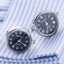 ¡Novedad! con forma de reloj VAGULA mancuernillas, Gemelos de reloj con batería, Gemelos mecánicos