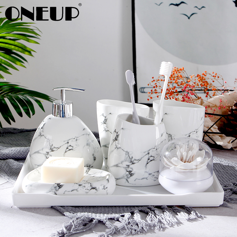 ONEUP 5pcs/set Ceramics Bathroom Accessories Set Soap Dispenser/Toothbrush Holder/Mouth Cup/Soap Dish Bathroom Products