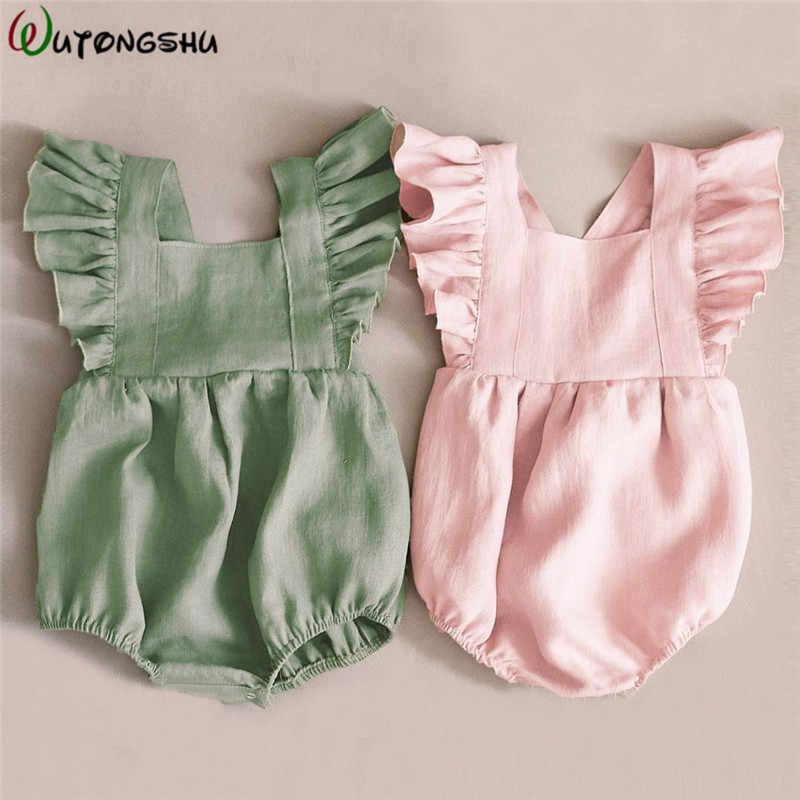 4efb4325a1ba 0-2Y Baby Girl Clothes Summer Baby Rompers Pink Green Newborn Jumpsuit  Cotton Linen