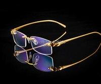 Luxury Titanium Leopard Design Eyeglass Frame Glass Rimless Man Women Spectacles