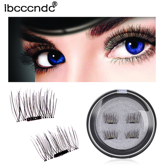 7be133870f6 4 Pcs/Pair 3D Magnetic False Fake Eyelashes Soft Makeup 1 Magnet Eyelashes  Natural Eye Lashes False Eyelashes Handmade No Glue