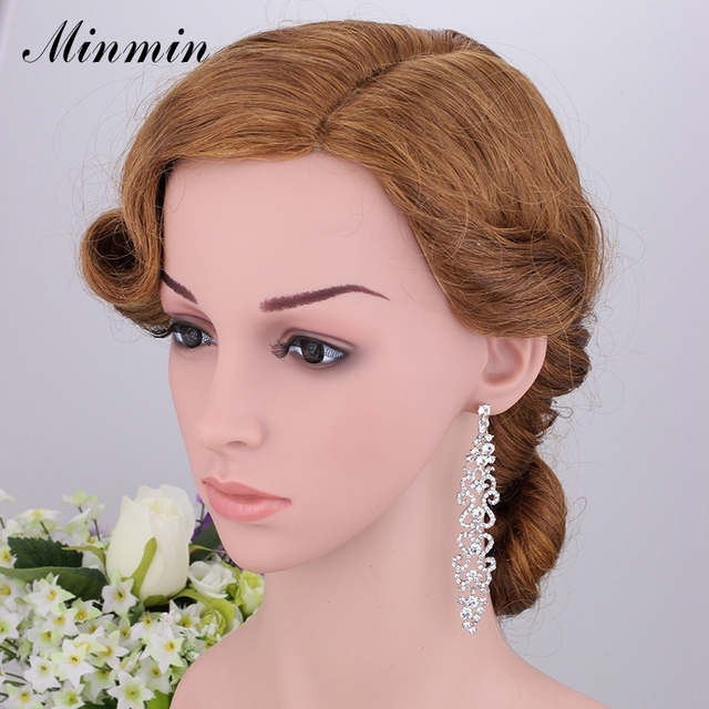 Minmin 2 Colors Bridal Crystal Jewelry Sets for Women Wedding Waves Bracelet Long Earrings African Beads Jewelry EH193+SL023