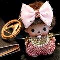 New arrival fashion cute Luxury monchichi keychain cartoon Bowknot Crystal Rhinestone Key chain for Woman bag pendant llaveros