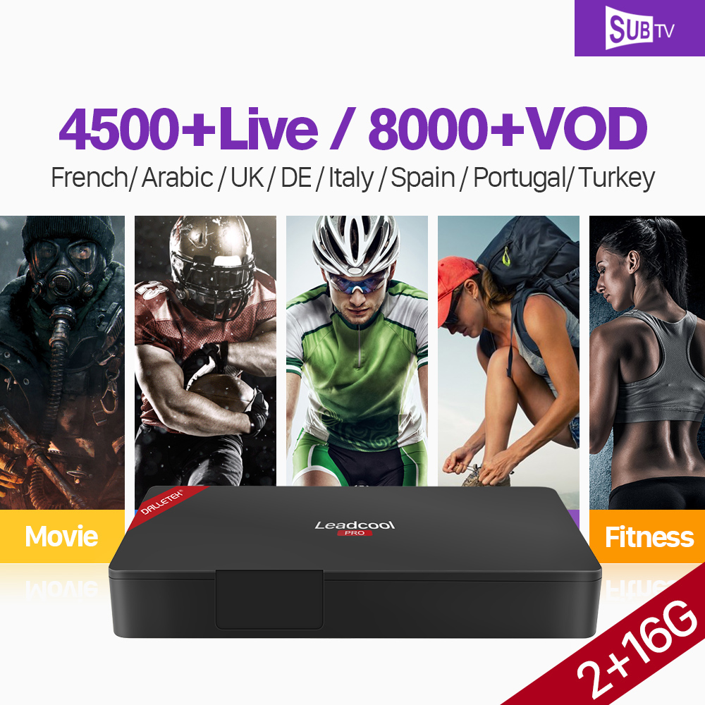 Leadcool Pro IPTV France Android S905X Quad Core 4K 2GB 16GB HD SUBTV Subscription IPTV France Arabic Belgium Portugal IP TV