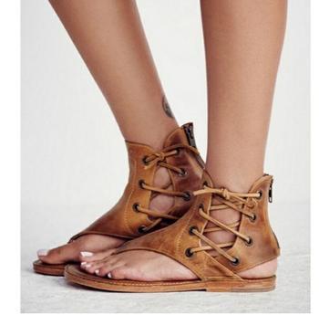 Women Sandals Vintage Summer Women Shoes Gladiator Sandals Flip-Flops Women Beach Sandals Leather Flat zipper Sandals 35-43 римские сандали