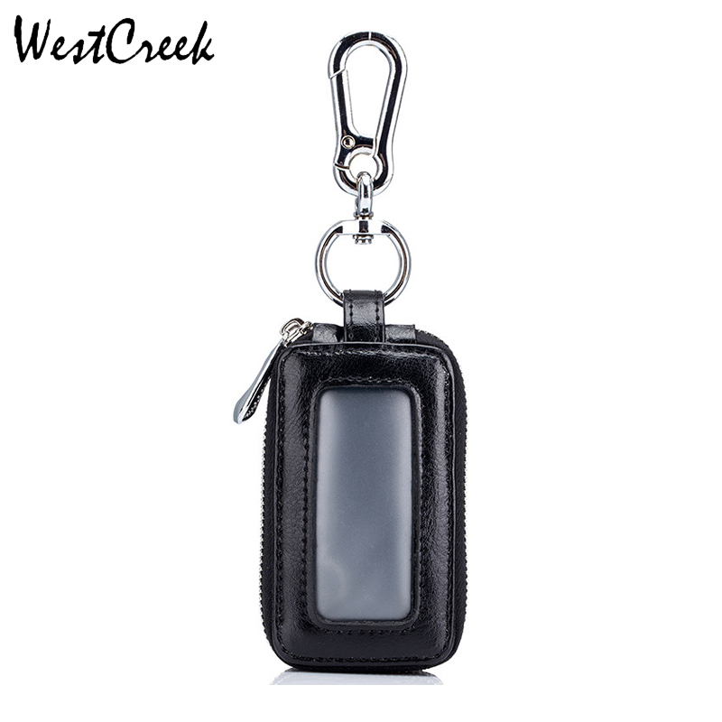 Marca Vintage Car Key Holder Inteligente Ama de llaves Real Cow Split Leather Double Zipper Home Key Case con ventana transparente