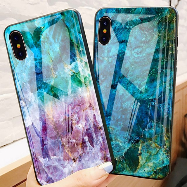 TOMKAS Luxury Marble Phone Case for iPhone X Xs Max Glass PC Agate Back Cover Silicone Soft Edge Coque Case for iPhone XS Max XR