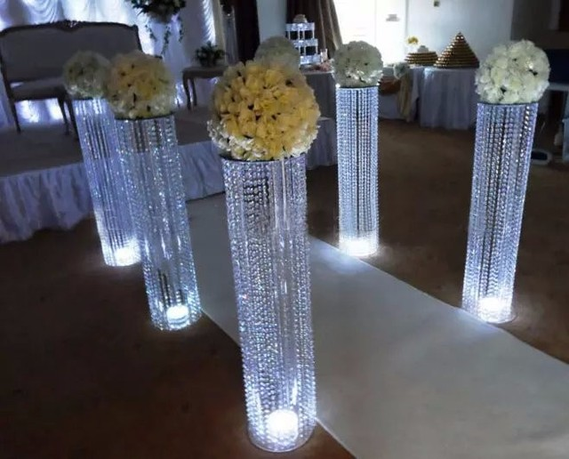 Wedding Beads Crystal Column Centerpiece Road Lead Frame For Sparkling Memory Decoration 10pcs