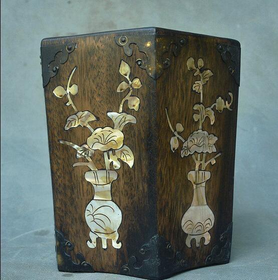 Chine palissandre incrusté coquille Vase Jardiniere de bon augure stylo conteneur brosse Pot