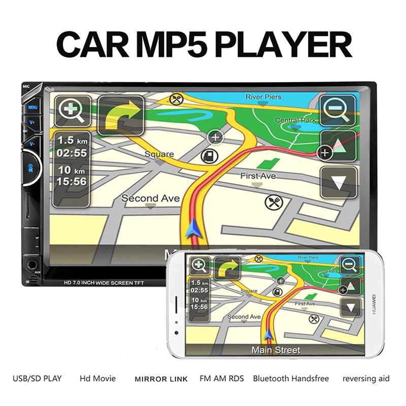 7002 7 Inches Double DIN Bluetooth Car MP5 Player without Camera Support Hands-free Calls with SD/MMC card Slot Remote control 2015 new support rear camera car stereo mp3 mp4 player 12v car audio video mp5 bluetooth hands free usb tft mmc remote control