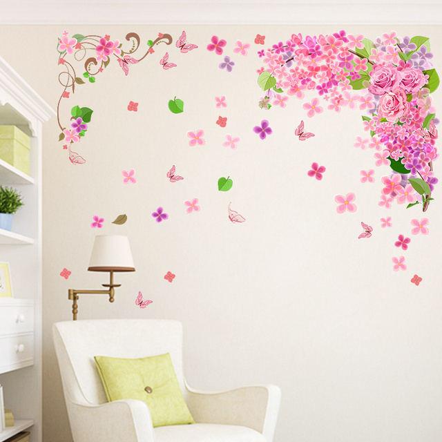 Flower Butterfly Decorative Wall Stickers For Girls Women Room Decoration  PVC Home Living Room Bedroom Decor