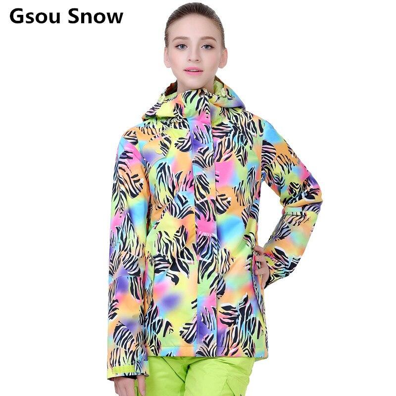 Prix pour Gsou Snow hiver snowboard veste femmes combinaison de ski féminin coloré zèbre rayé dames ski manteau étanche thermique neige porter