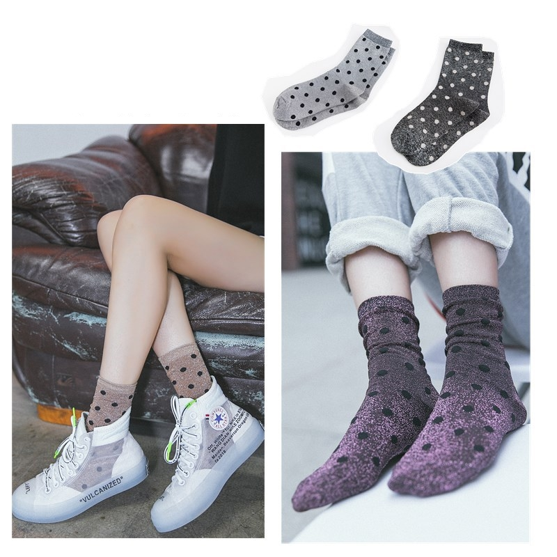 2018 women   socks   fashion casual breathable dots silver wire cotton color cute women fashion lady   socks   1 pair Korean style