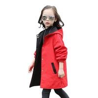 Ветровка для девочек обе стороны для носки Куртка Верхняя одежда для девочек Детские пальто и куртки дети малышей Кардиган От 3 до 12 лет весн...