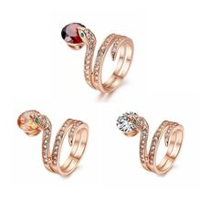 3-colour snake-shaped ring with Austrian crystal Stelux ring, creative fashion, suitable for women size 6-7-8-9-10 недорого