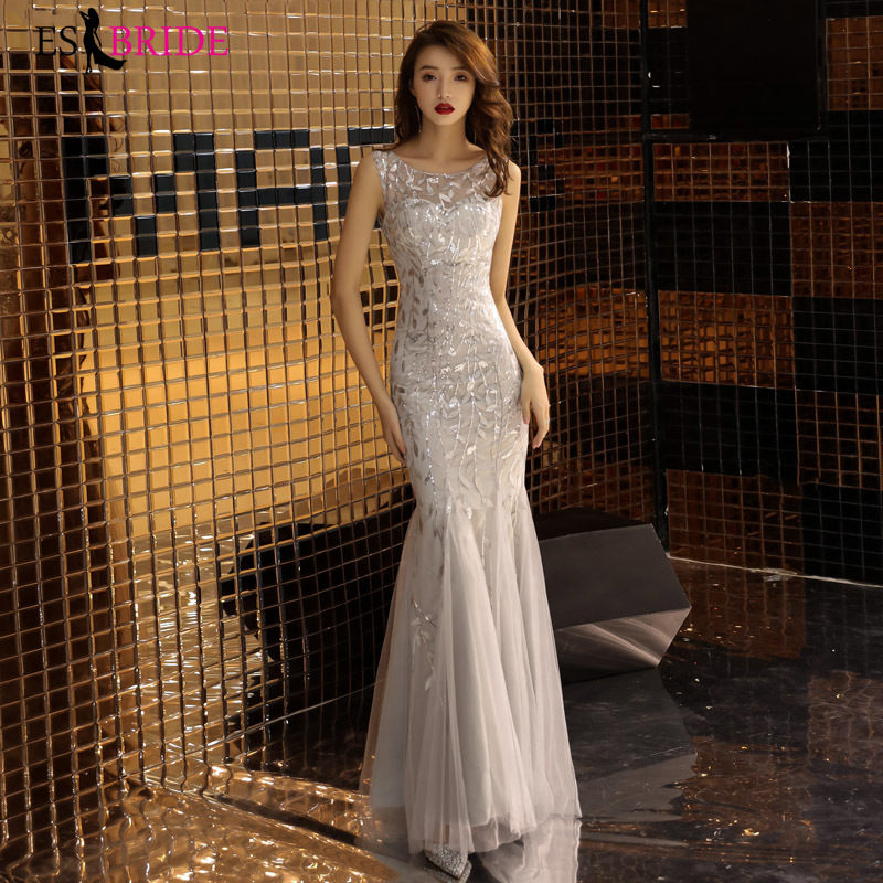 Slive Reflective   Dress   Mermaid Princess   Evening     Dresses   Long Sleeveless   Evening   Gown Formal   Evening     Dress   Robe De Soiree ES1856