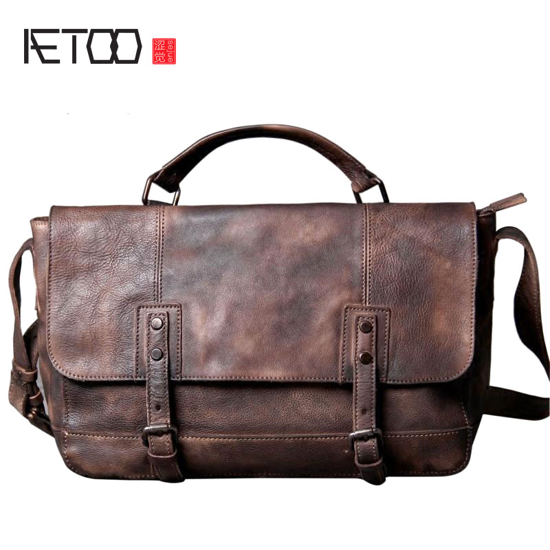 AETOO Retro to do the old first layer leather shoulder bag Messenger bag leisure wild commuter bag men's handmade original veget aetoo spring and summer new leather handmade handmade first layer of planted tanned leather retro bag backpack bag