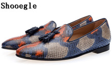 SHOOEGLE Mens Snakeskin Leather Casual Shoes Luxury Tassel Colorful Leather Slip on Business Dress Loafers Man Career Work Shoe