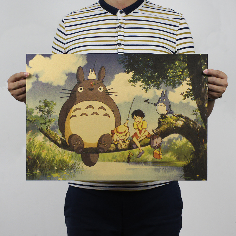 Retro Totoro Kraft Paper Posters Japanese Anime Totoro Wall Sticker Kids Room Decoration Vintage Poster