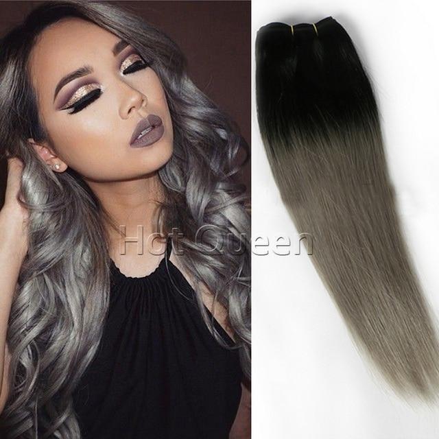 European Straight Grey Hair Weave 3pcs Hair Bundles Silver Grey