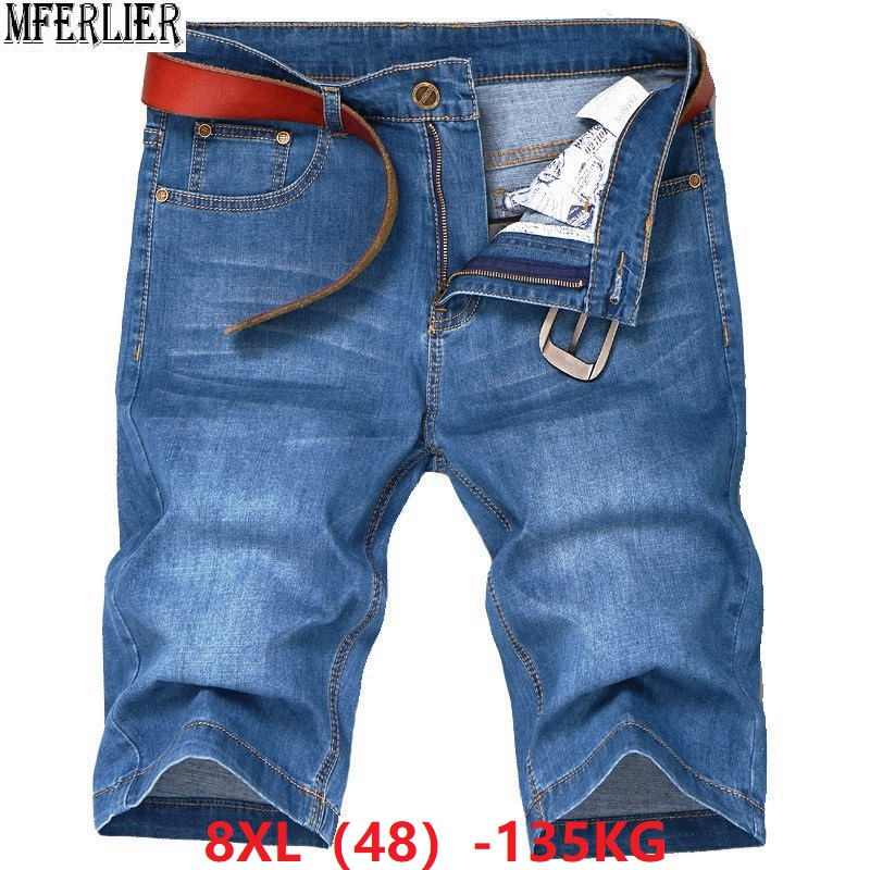 MFERLIER Summer Men's Denim Shorts Elastic Plus Size Big 6XL 7XL 8XL Men Casual Home Man Thin Shorts Stretch Loose Blue 44 46 48