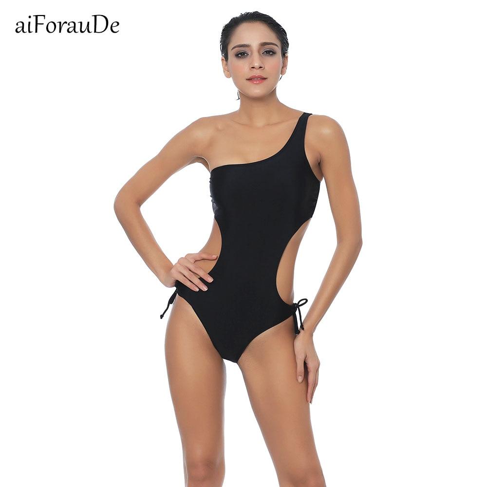 Sexy 2018 One Shoulder Swimsuit Bandage One Piece Monokini New Women Lace Push Up Solid Swimwear Bathingsuit Summer Beachwear