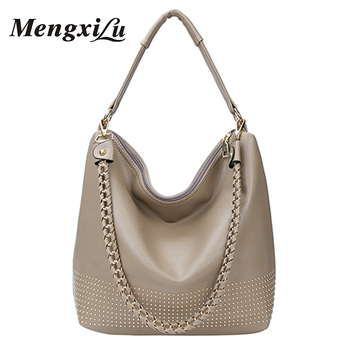 3330b9c1a5 Custom Review MENGXILU Rivets Women Bags Chains Women Shoulder Bags High  Quality Pu Leather Female Handbag Large Capacity Women Messenger Bags