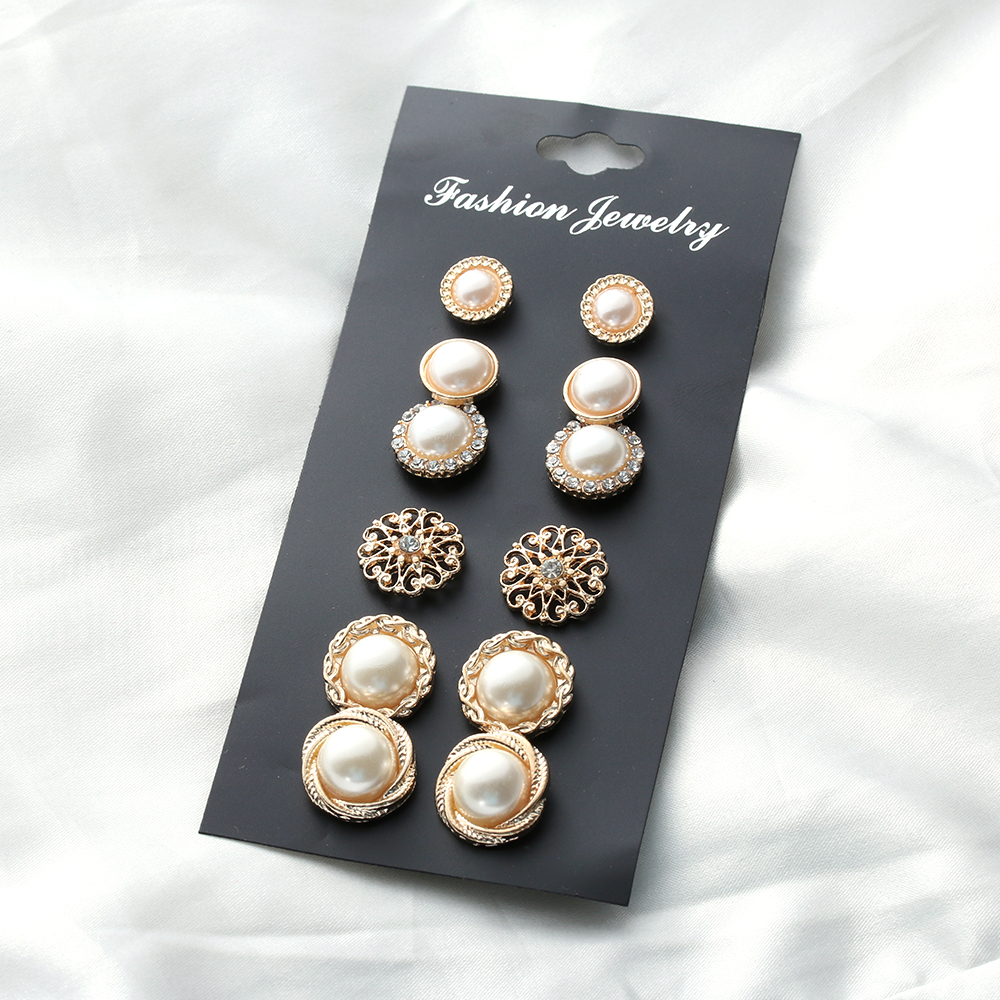 6 Pairs Fashion Crystal Rhinestones Flower Pearl Earrings Ear Stud Jewelry Zircon Pearl Crystal Rhinestones Nice Romantic Gift