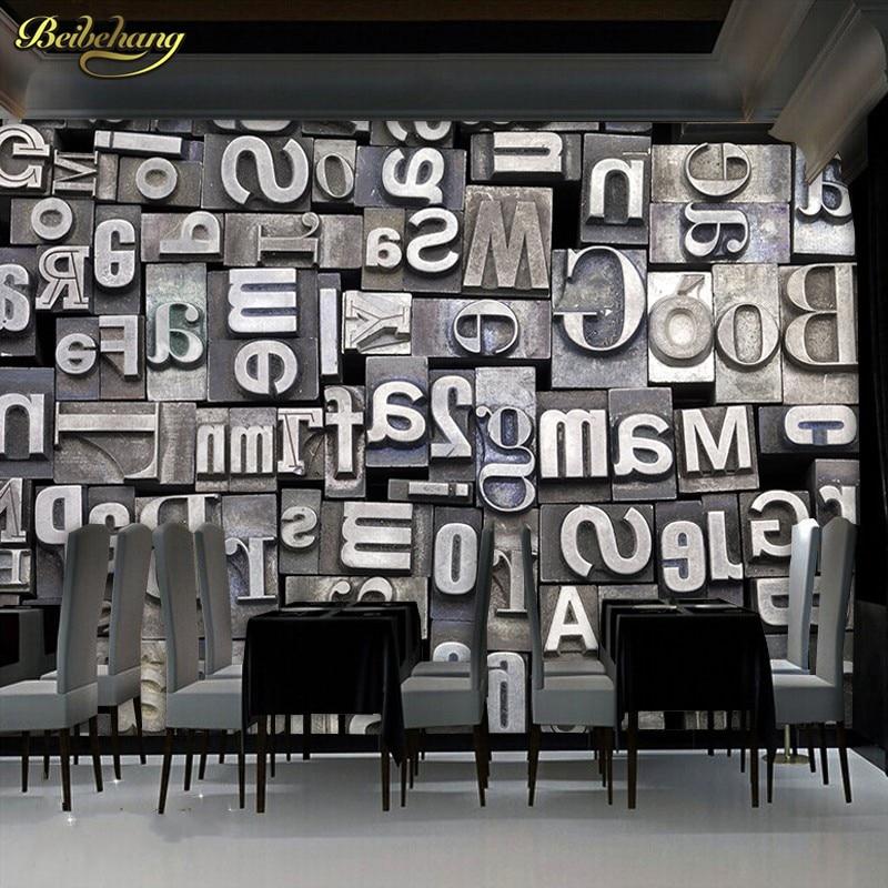 US $8.85 41% OFFBeibehang besar gaya eropa mode 3d hitam u0026 putih inggris  surat cafe latar belakang wallpaper 3d 3d wallpaper mural-in Wallpaper from
