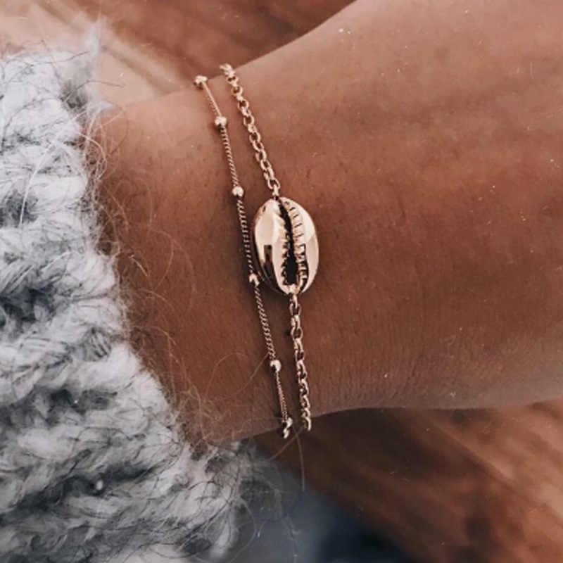 2019 Hot Trendy Hot Cowrie biżuteria powlekana bransoletki dla kobiet delikatne złoty kolor powłoki łatwy mecz bransoletka ręcznie Bijoux Femme