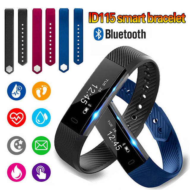 Smart fitness running pedometer step counter sports waterproof Bluetooth sleep with heart rate monitoring bracelet