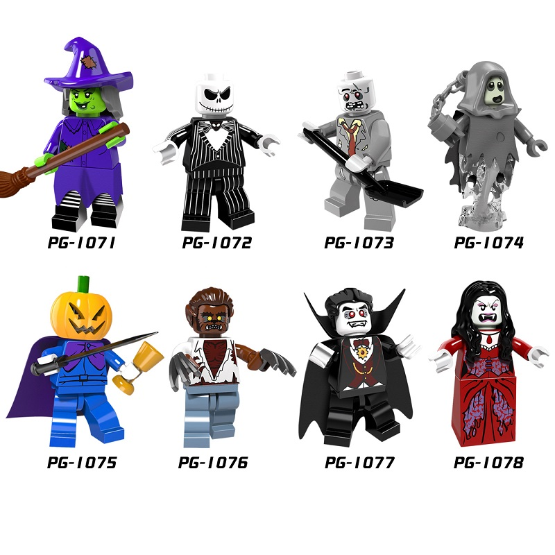 Halloween Figure PG8080 Skeleton Jack Witch Zombie Ghosts Pumpkin Man Werewolf Legoingly Vampire Count Queen Building Blocks