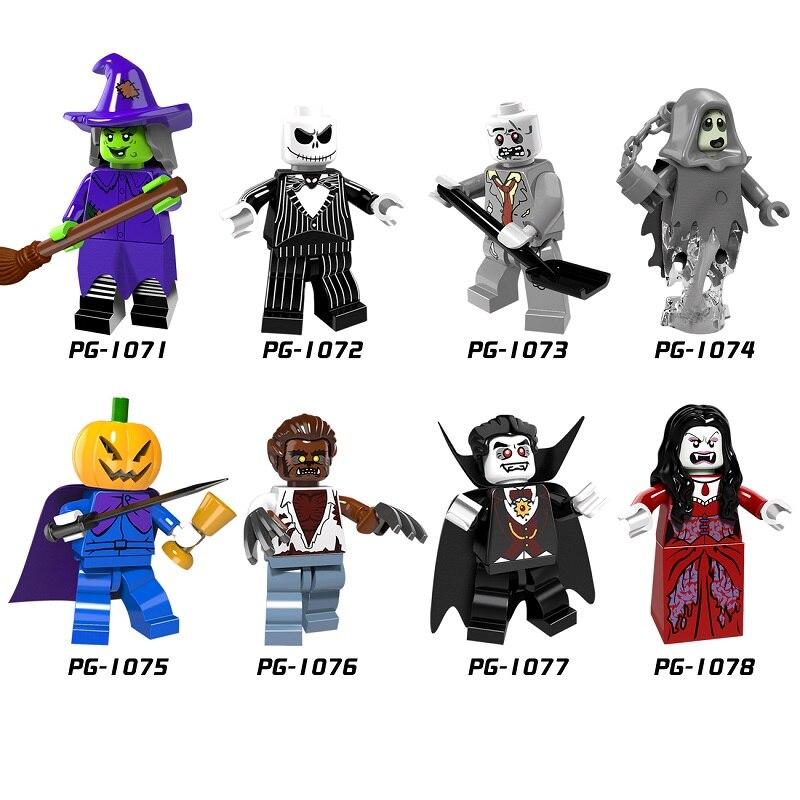 Halloween Figure PG8080 Skeleton Jack Witch Zombie Ghosts Pumpkin Man Werewolf Legoingly Vampire Count Queen Building Blocks