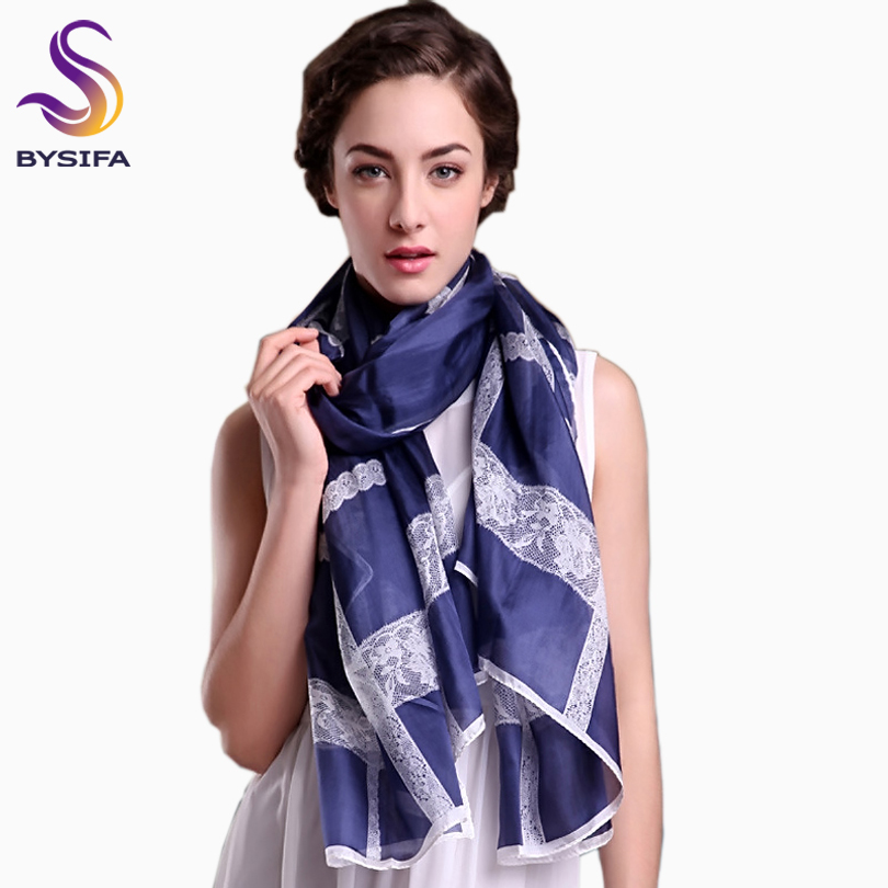[BYSIFA] Ultralarge Spring Autumn Silk Scarf Wraps Brand Female Long Scarf Cape Fashion New Design Lace Pattern Blue Silk Scarf