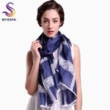 BYSIFA Ultralarge Spring Autumn Silk Scarf Wraps Brand Female Long Scarf Cape Fashion New Design Lace Pattern Blue Silk Scarf