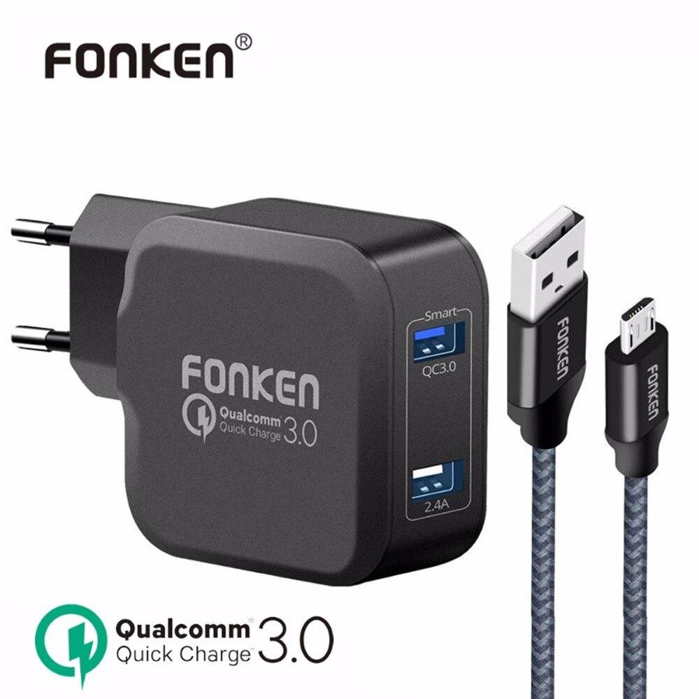 FONKEN Double USB Chargeur Charge Rapide 3.0 Rapide Téléphone Chargeur QC3.0 QC2.0 27 W 5 V 2A Chargeur Mural Avec Câble de Recharge pour Téléphone