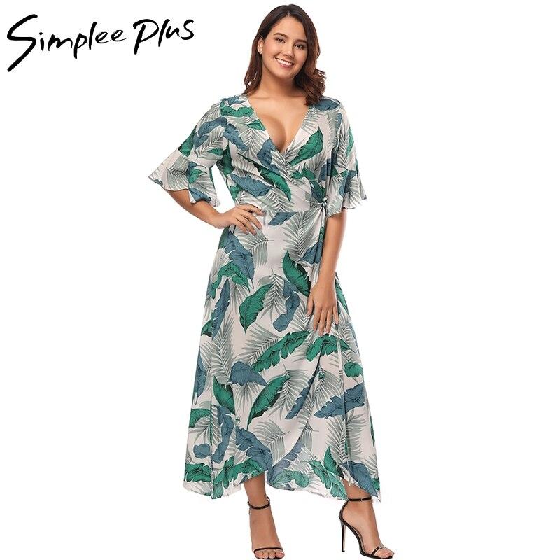 8d20b05afdb Simplee Plus Long Summer Dress Plus Size Boho Tropical Print Beach Maxi  Dress Sexy V Neck Ruffle Sleeve Wrap Dress XXXL 4XL 5XL