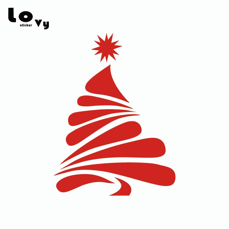 Merry Christmas Wall Sticker Creative Christmas Tree Silhouette Vinyl Wall Decal Home Decor